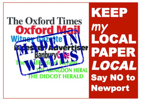 "Postcard saying ""Keep my local paper local"""