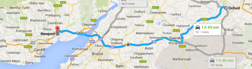 Oxford to Newport map